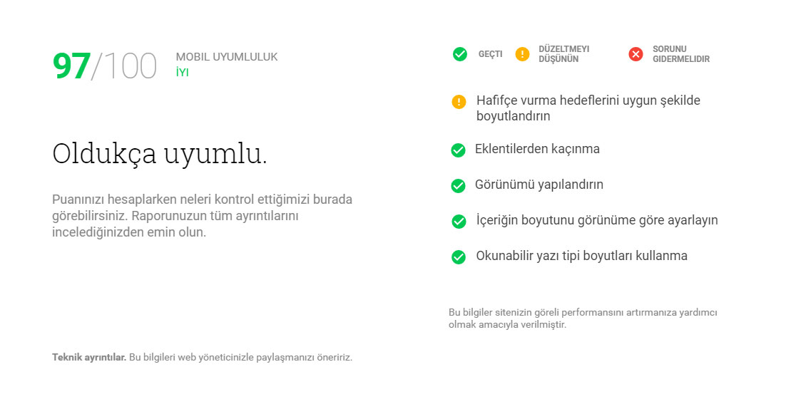 Google uyumluluk öneri ekranı